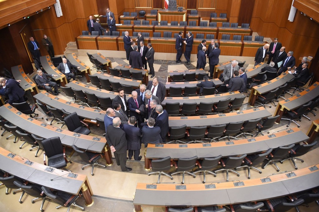 17 Dec 2015, Beirut, Lebanon --- (151216) -- BEIRUT, Dec. 16, 2015 (Xinhua) -- Parliament members attend a ballot in Beirut, Lebanon, on Dec. 16, 2015. The Lebanese parliament failed Wednesday for the 33rd consecutive time to convene and elect a new president due to a lack of the constitutionally required quorum. (Xinhua/Foued) --- Image by © Foued/Xinhua Press/Corbis