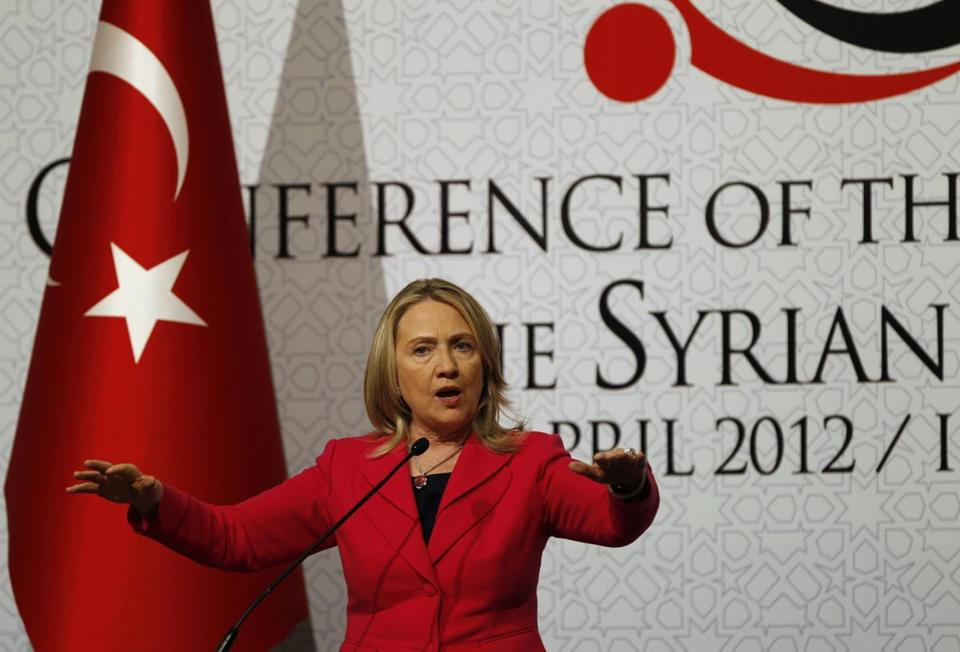 "Then-US Secretary of State Hillary Clinton speaking at a ""Friends of Syria"" conference in Istanbul in 2012. Photo: Reuters."