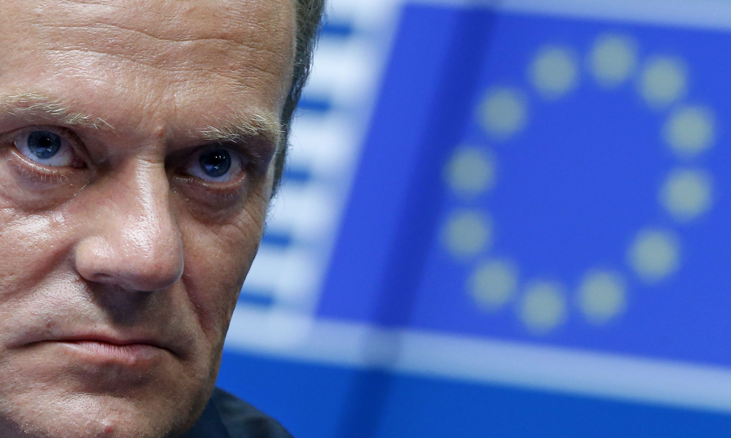 Newly elected European Council President Donald Tusk attends a news conference during an EU summit in Brussels August 30, 2014. European Union leaders chose Polish Prime Minister Tusk as the new president of their Council on Saturday and Italian Foreign Minister Federica Mogherini as the bloc's new foreign policy chief, outgoing European Council President Herman Van Rompuy said. REUTERS/Yves Herman (BELGIUM - Tags: POLITICS)