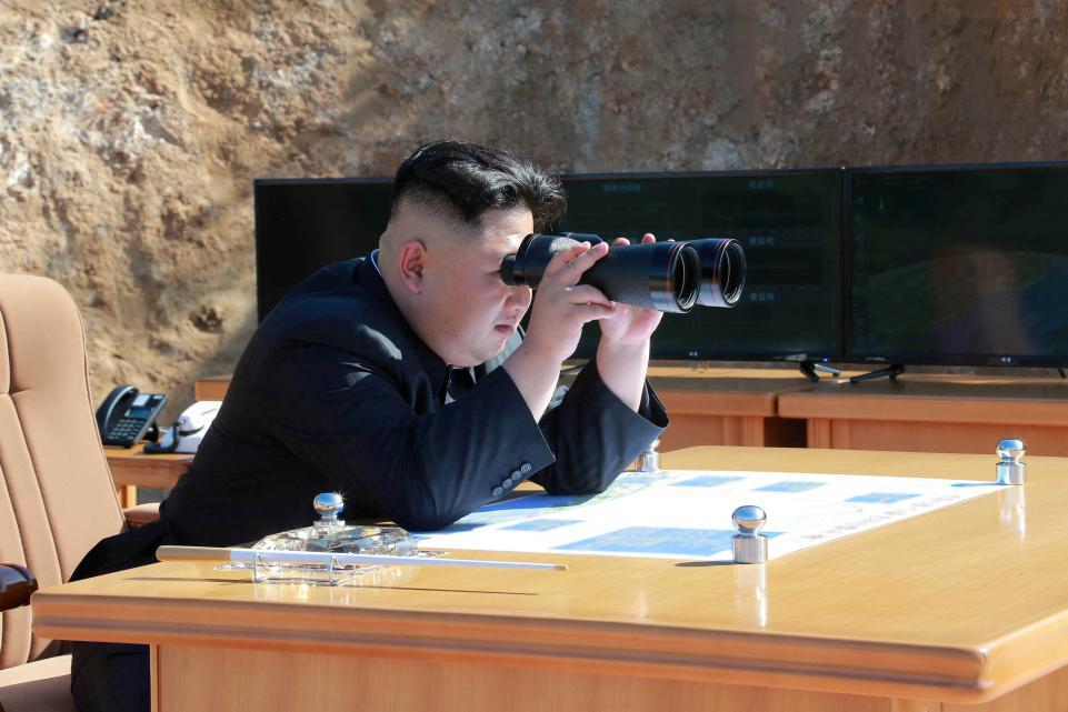 North Korean leader Kim Jong-il surveys military drills