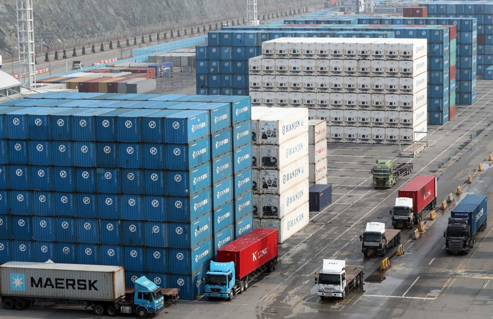 Trade containers stacked at a South Korean port