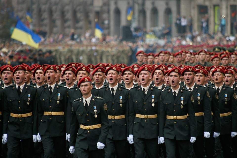 Servicemen march during Ukraine's Independence Day military parade in central Kiev