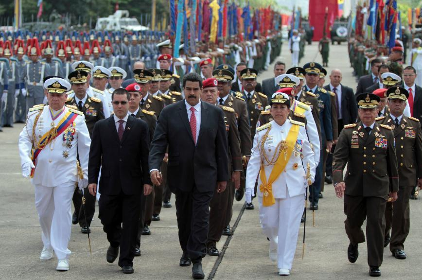 Venezuela's President Nicholas Maduro leads a military march