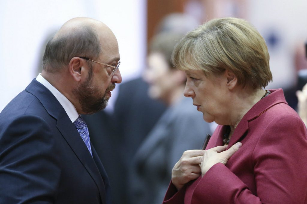 Angela Merkel and Martin Schulz