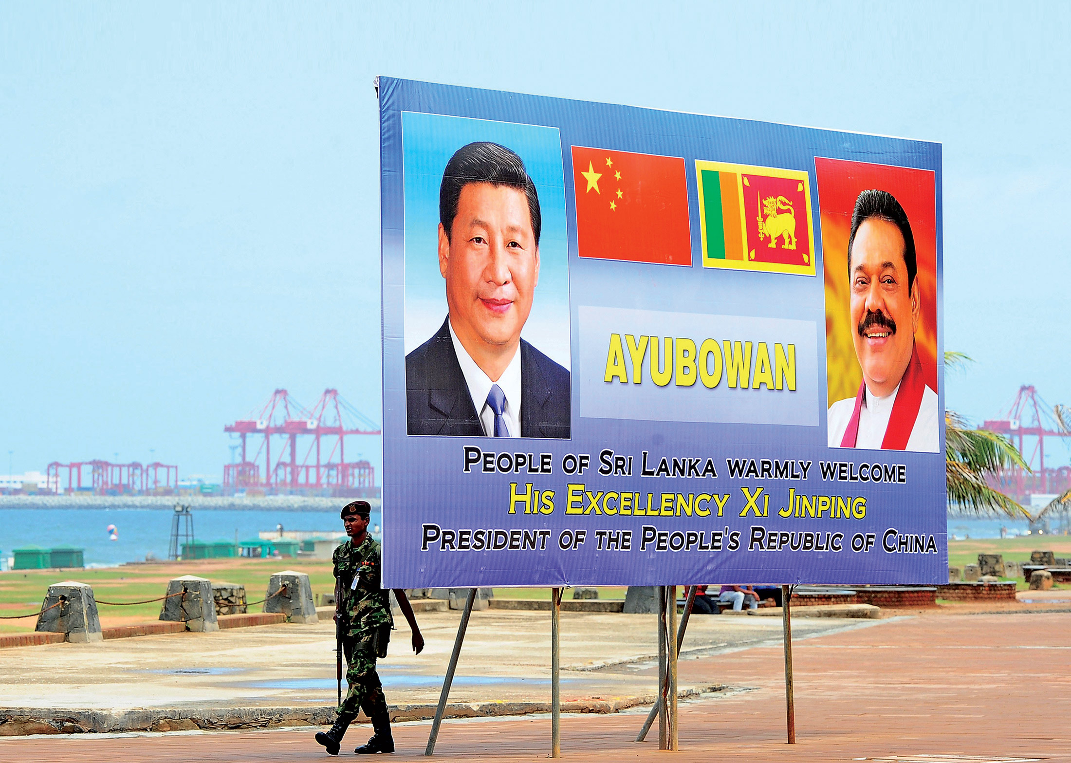 A poster in Sri Lanka welcomes China's president after a succesful development project
