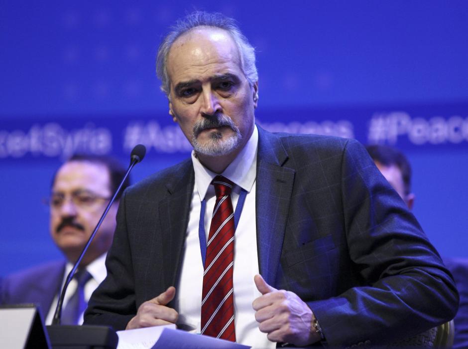 Head of Syrian President al-Assad delegation al-Jaafari attends news conference following Syria peace talks in Astana