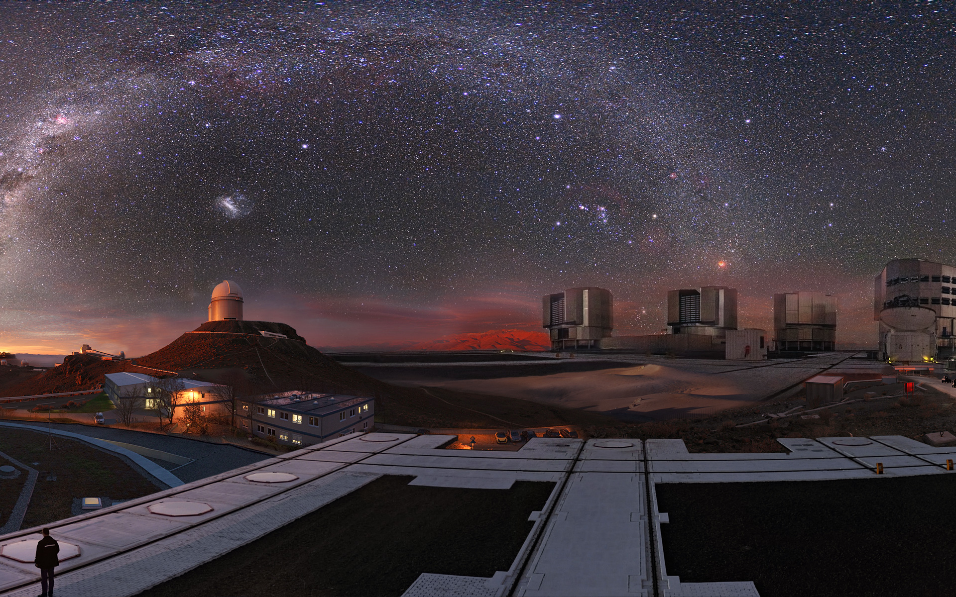 Image composition showing all the ESO observatories and the Headquarters.