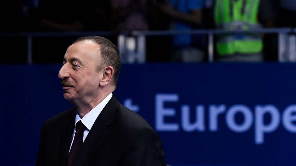 Azerbaijan's president Ilham Aliyev leaves a European Union meeting