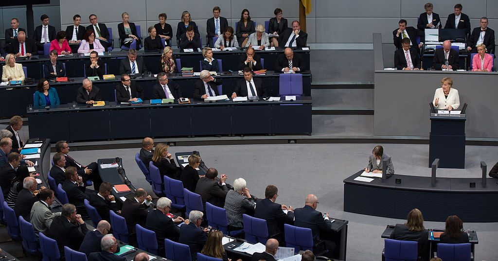 Chancellor Angela Merkel at a debate in the plenary of the German Bundestag, 2014