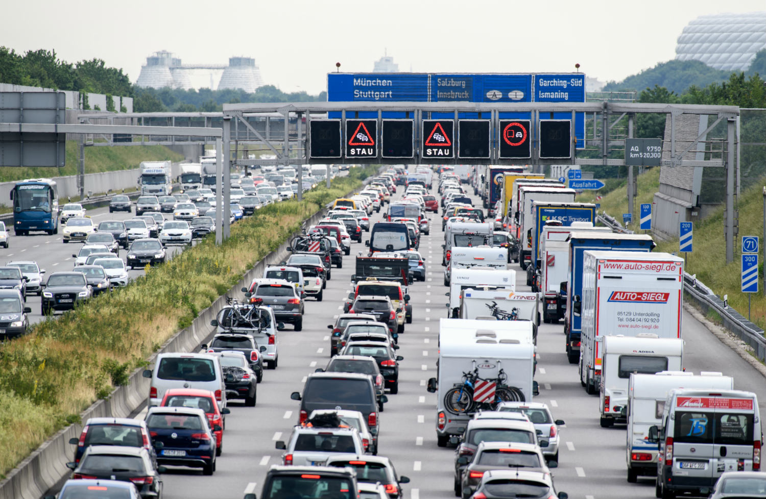 Cars stuck in traffic on Germany's autobahn