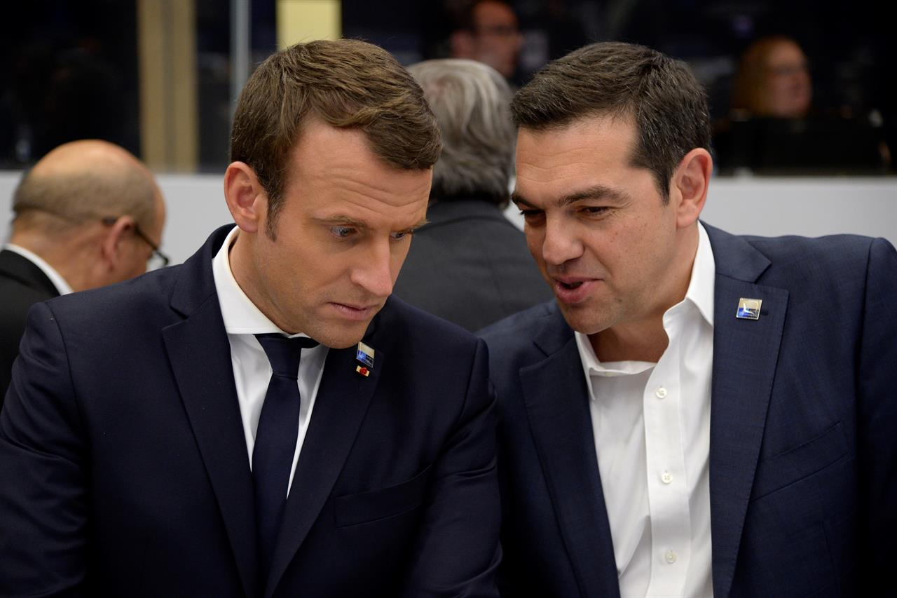 Emmanuel Macron meets Greek PM Tsipras