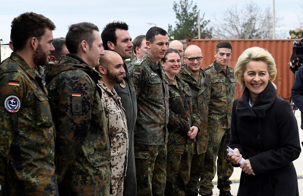 German Defence Minister von der Leyen chats with soldiers during a visit of the German Armed Forces Bundeswehr at the air base in Incirlik