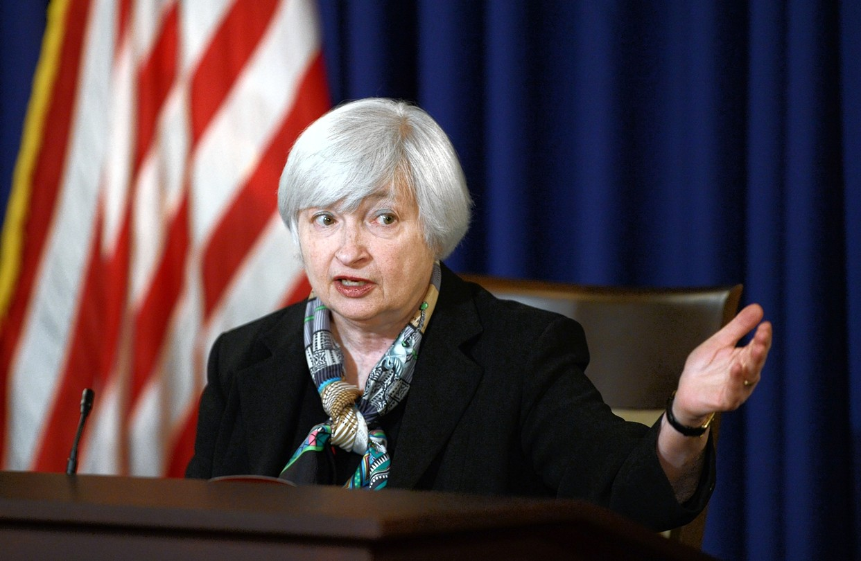 Janet Yellen and her Federal Reserve colleagues will review monetary policy settings today