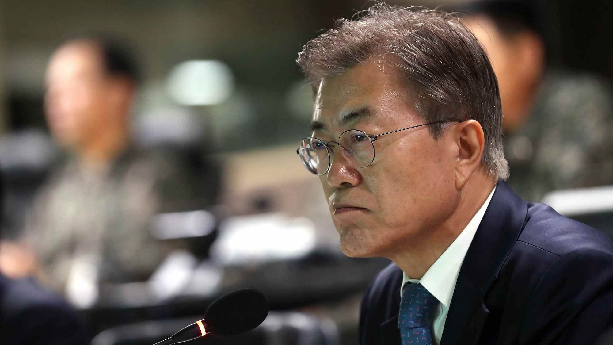 South Korean President Moon Jae-in is facing a stiff challenge from conservative Liberty Korea Party
