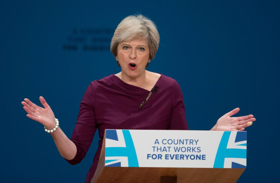 UK Conservative PM Theresa Maya at party conference