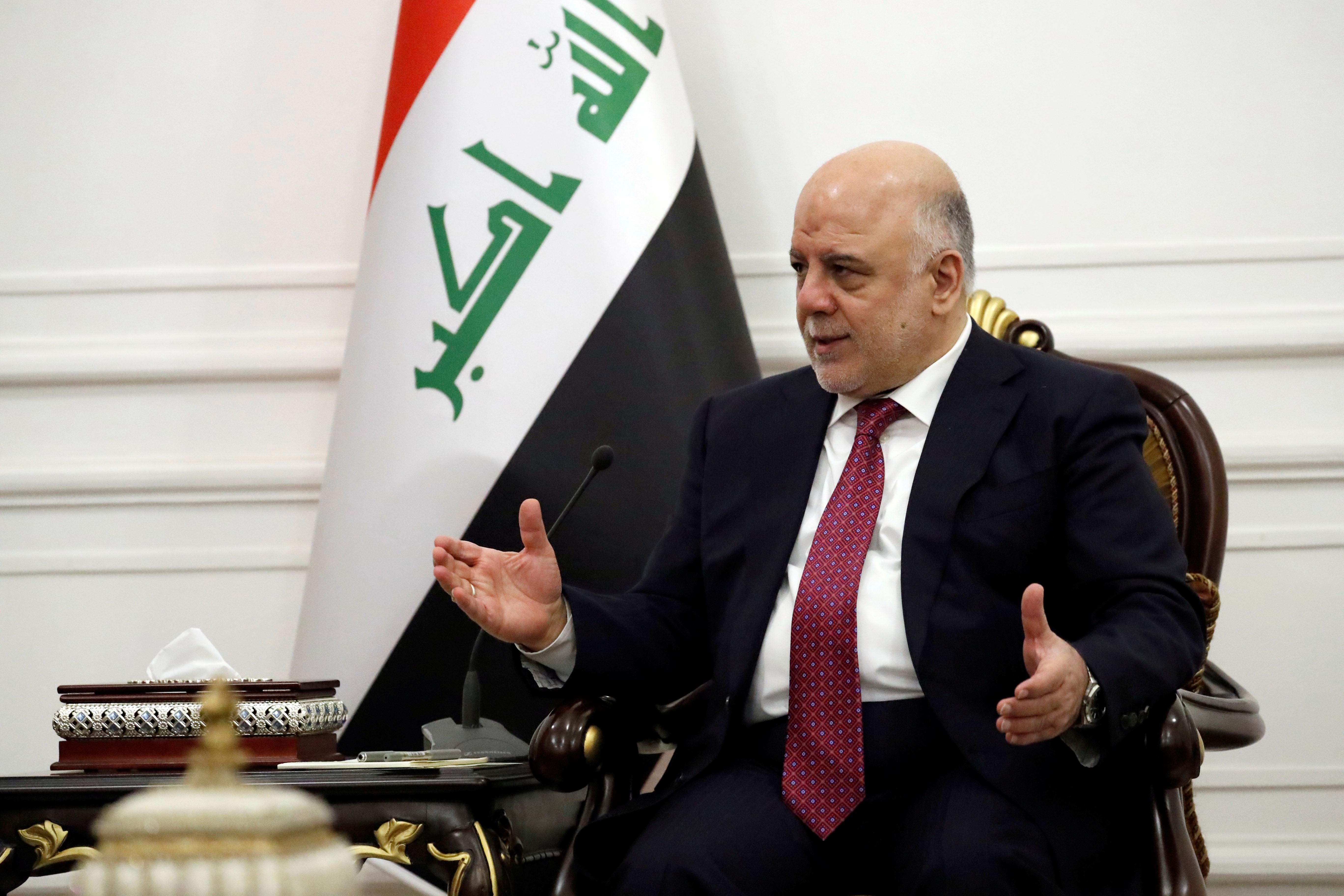 Tillerson speaks with Iraqi Prime Minister Haider al-Abadi in Baghdad