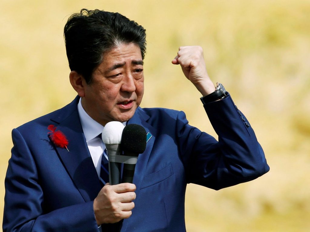 Japan's Prime Minister Shinzo Abe, who is also ruling Liberal Democratic Party leader, attends a Japanese election campaign rally in Fukushima, Japan, October 10, 2017.
