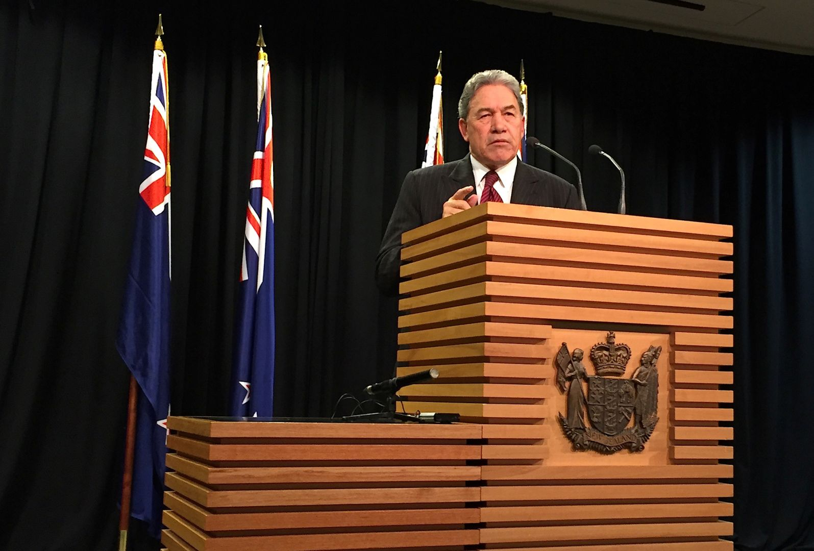New Zealand First's Winston Peters says a coalition announcement must wait