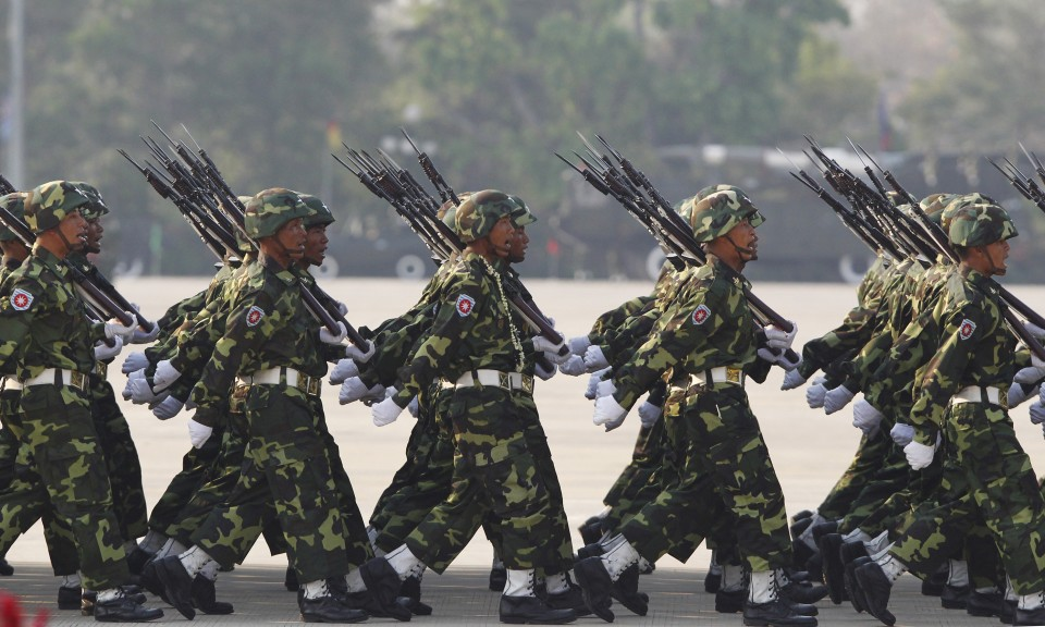 Soldiers march during a parade to mark the 69th anniversary of Armed Forces Day in Myanmar's capital Naypyitaw.