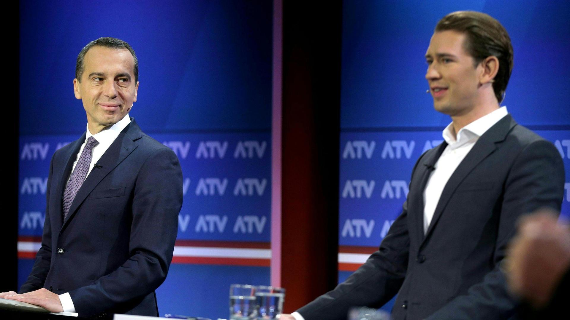 Sebastian Kurz and Christian Kern face off in a debate