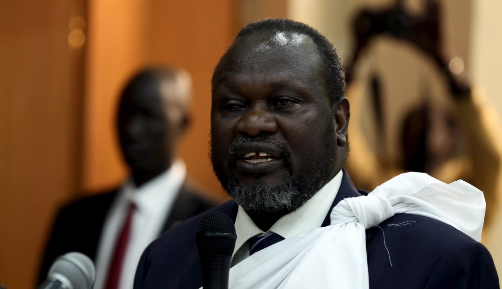 South Sudan opposition leader Riek Machar speaks during a briefing ahead of his return to South Sudan as vice president, in Ethiopia's capital Addis Ababa April 9, 2016.