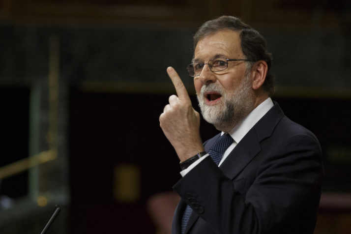 Spanish Prime Minister Mariano Rajoy speaks at the Spanish Parliament following the Catalan independence vote on October 11, 2017 in Madrid, Spain. Mr Rajoy has asked Catalan leader Carles Puigdemont to confirm whether or not he has declared independence.