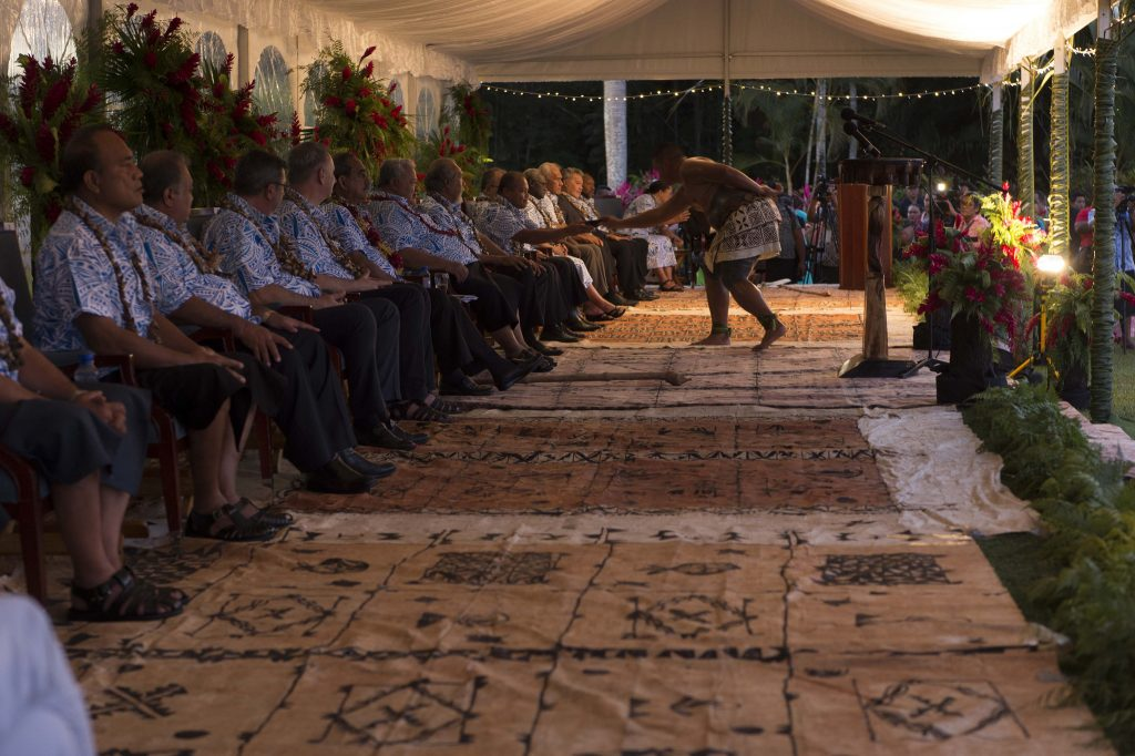 2017 Pacific Islands Forum Opening Ceremony. Pacific Island Forum leaders are honored with a traditional Samoan 'Ava ceremony