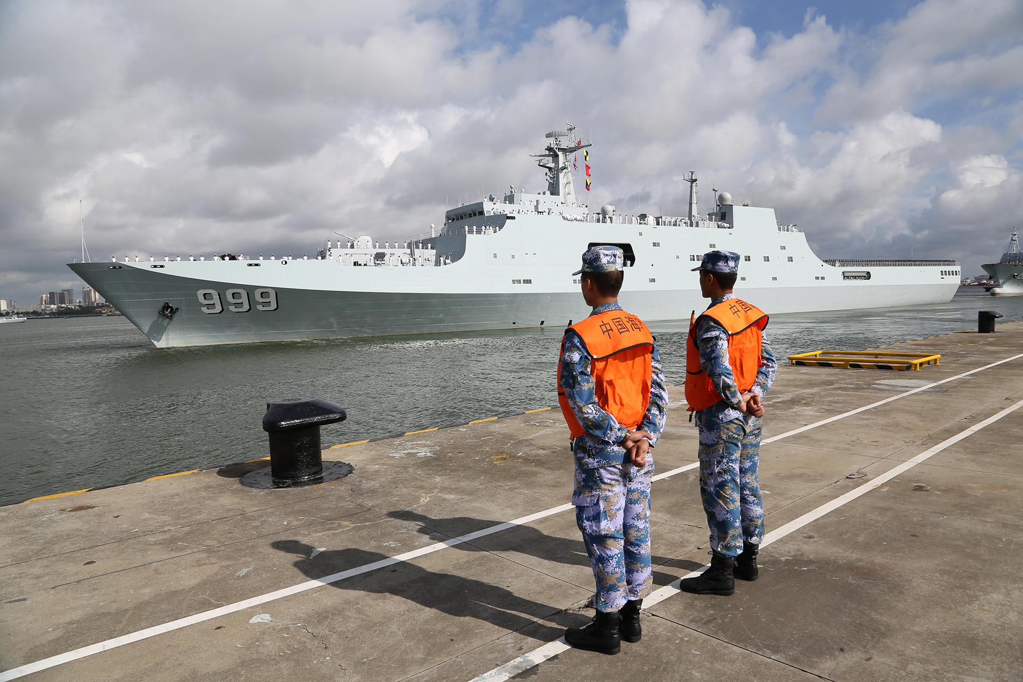 Chinese warship in Djibouti