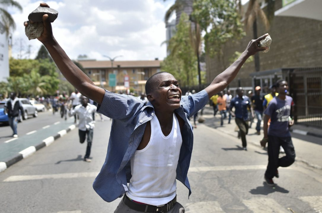 Kenyan supporter protests in Nairobi