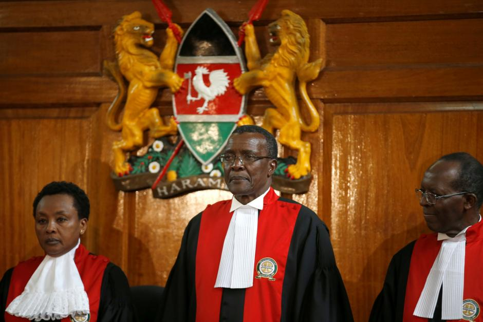 Kenya's Supreme Court judge chief justice David Maraga presides before delivering the ruling making last month's presidential election in which Uhuru Kenyatta's win was declared invalid in Nairobi