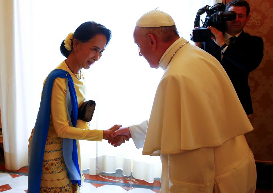 Pope Francis welcomes Myanmar State Counsellor Aung San Suu Kyi during a private audience at the Vatican