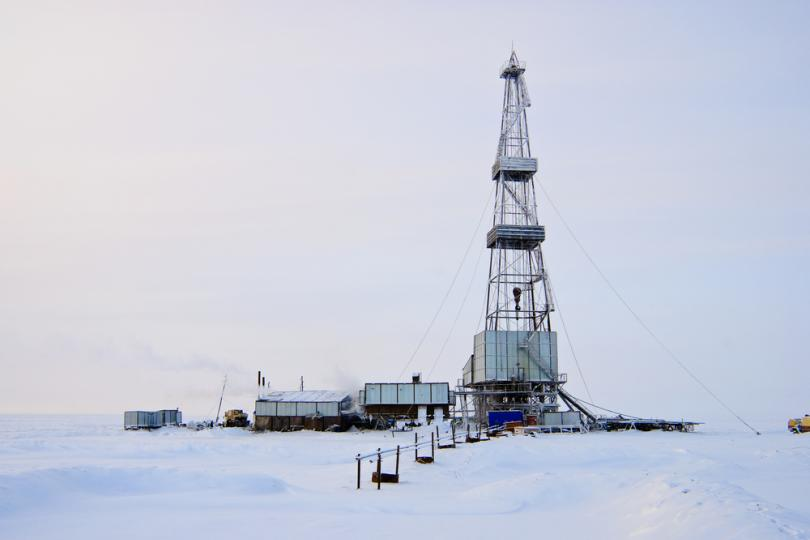 An oil rig in East Siberia, Russia.