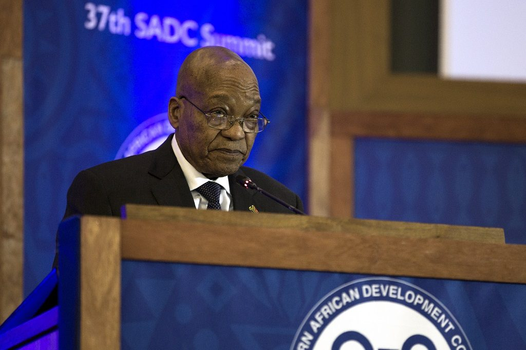 President of South Africa Jacob Zuma addresses Heads of State, delegations and the media at the Closing Ceremony of the 37th Southern African Development Community (SADC) Summit of Heads of State and Government at The OR Tambo Building in Pretoria on August 20, 2017. Regional leaders from the Southern African Development Community (SADC) attend the annual summit of heads of states, as South Africa and Zimbabwe jostle to avoid a diplomatic crisis over assault charges laid by a South African model against President Robert Mugabe's wife.