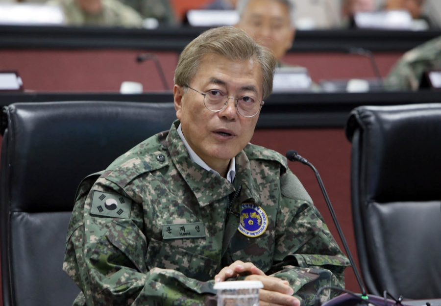 South Korean President Moon Jae-in speaks during his first official visit to Yongsan Garrison in Seoul, South Korea. (OPCON)