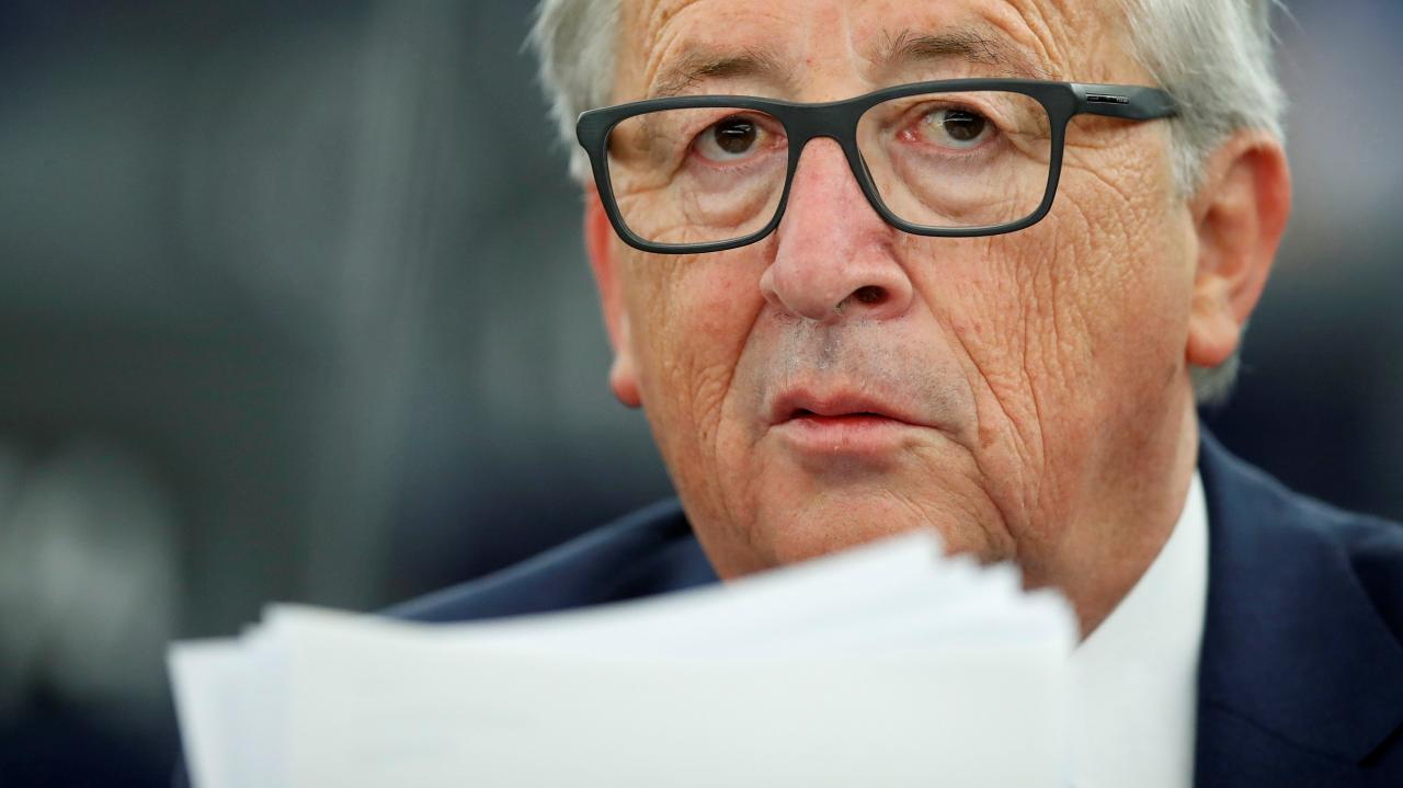 European Commission President Jean-Claude Juncker looks on before addressing the European Parliament during a debate on The State of the European Union in Strasbourg