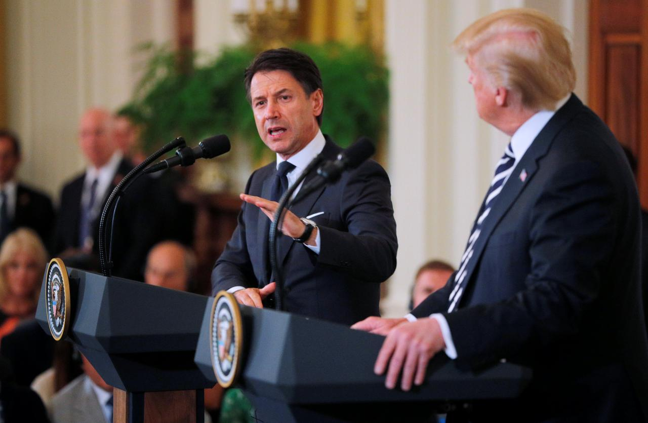 U.S. President Trump and Italy's Prime Minister Conte hold joint news conference at the White House in Washington
