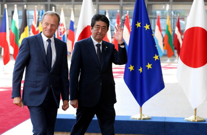 Prime Minister Shinzo Abe in Brussels for EU-Japan Summit